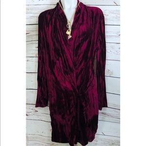 New Zara Burgundy Velvet Wrap Mini Dress With Belt